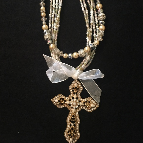 Jewelry - Multi-Strand Pearls and Glass Beads Cross Necklace